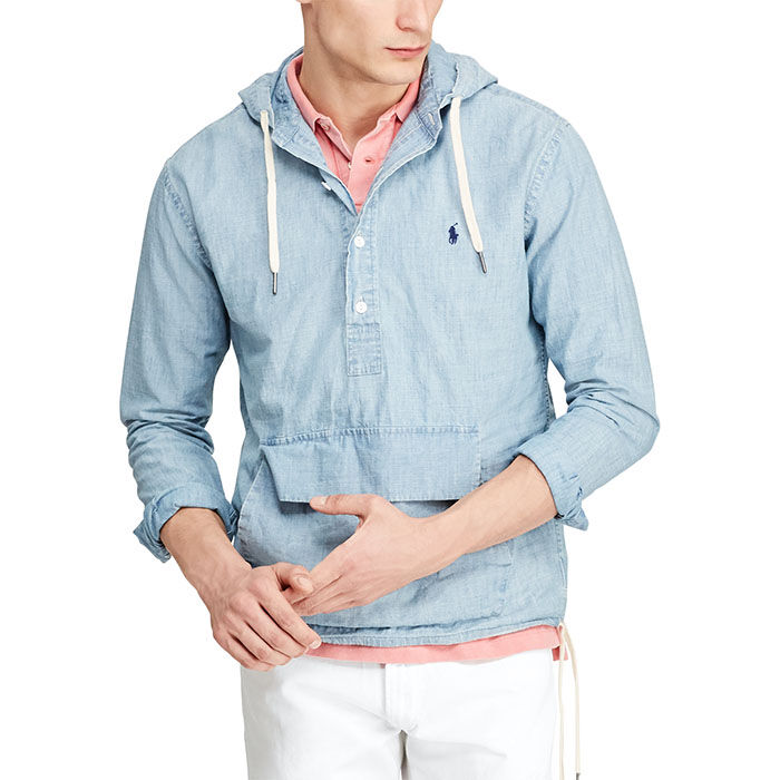 Men's Chambray Hooded Popover Shirt