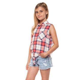 Junior Girls' [7-14] Tie-Up Plaid Shirt
