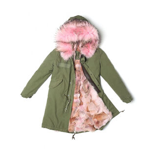 Women's Fur-Lined Canvas Army Parka
