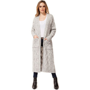 Women's Long Cable Knit Cardigan