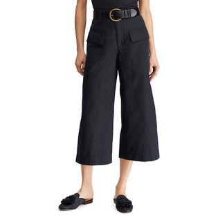 Women's Cotton-Blend Wide Leg Pant