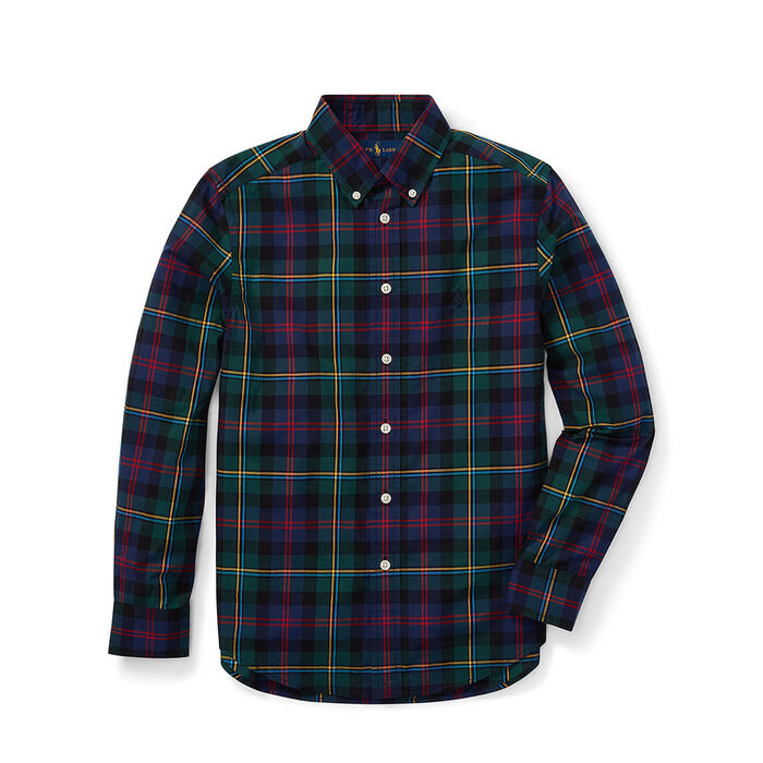 Chemise à carreaux en popeline de coton pour garçons juniors [8-20]