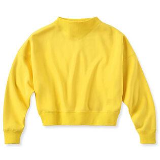 Women's Cropped Mock V Fleece Sweatshirt