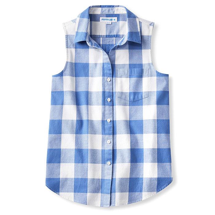 Chemise en flanelle à carreaux sans manches Quintessential pour femmes