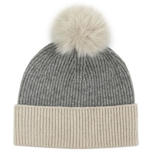 Women's Two-Tone Pompom Beanie