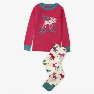 Girls' [2-10] Moose Be Dreaming Two-Piece Pajama Set