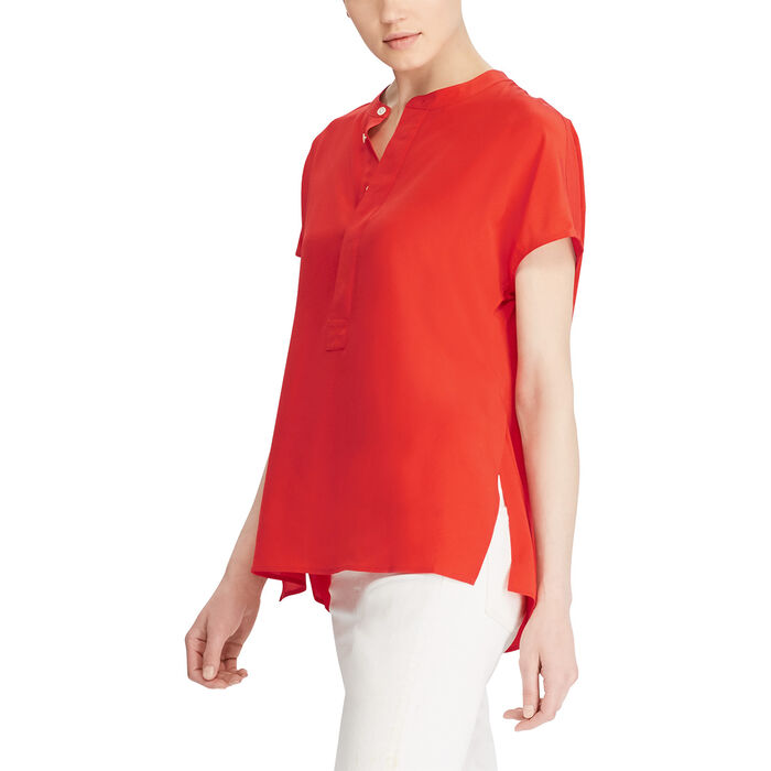 2c2521308c81df Women's Band-Collar Silk Crepe Blouse | Sporting Life Online