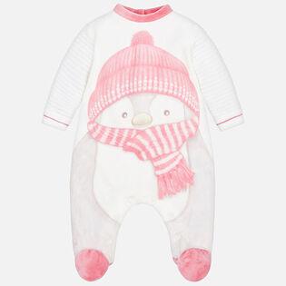 Pyjama 1 pce à motif velouté brodé pour bébés filles [0-12M]
