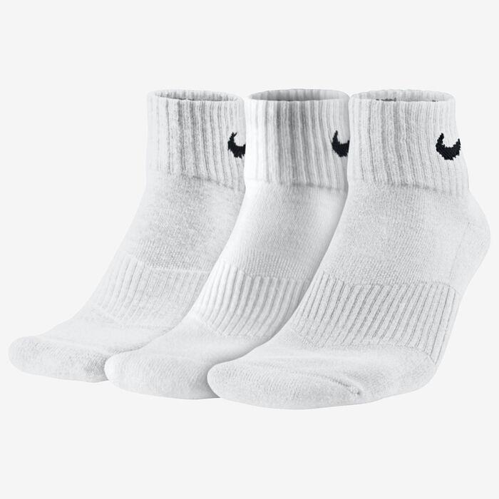 Chaussettes en coton Cushion Quarter pour femmes [3 paires] (blanches)