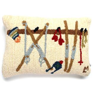 Ski Rack Hooked Wool Pillow