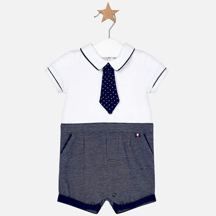 Baby Boys' [0-18M] Shirt + Tie Romper
