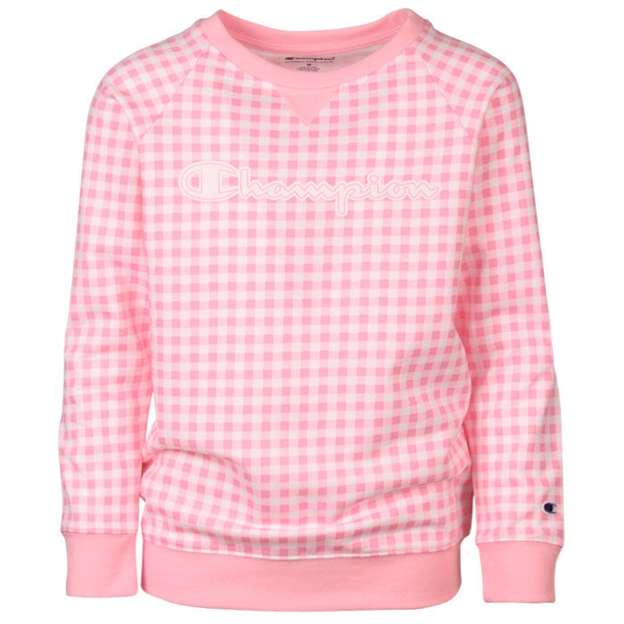 Junior Girls' [7-16] Gingham Crew Sweatshirt