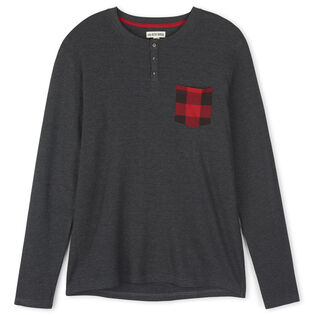 Men's Buffalo Plaid Waffle Henley Top