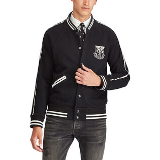 Men's Cotton-Blend Fleece Bomber Jacket