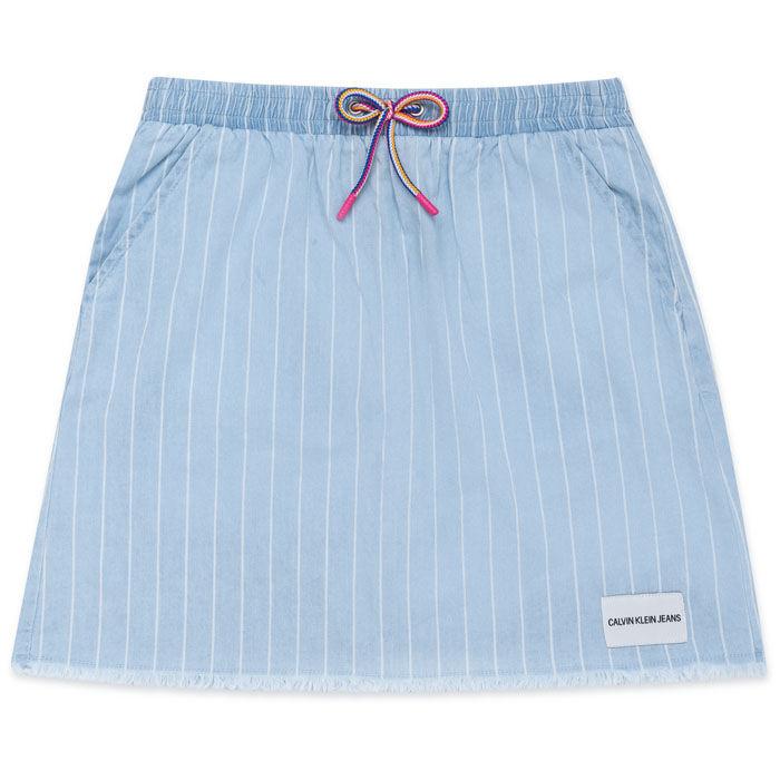 Junior Girls' [8-16] Stripe Chambray Pull-On Skirt