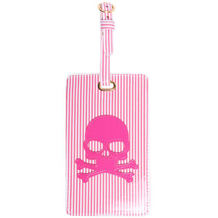 Striped Skull Luggage Tag