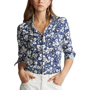 Women's Floral Cotton Oxford Shirt