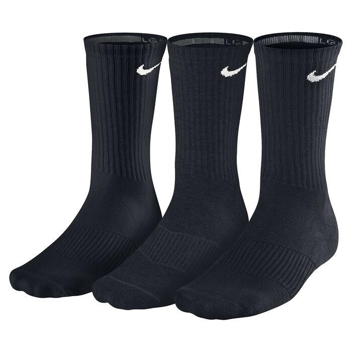 Men's Cotton Cushion Crew Socks [3 Pack] (Black)