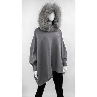 Women's Hooded Fur Poncho