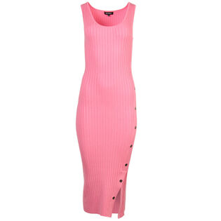 Women's Wide Rib Knit Snap Tank Dress