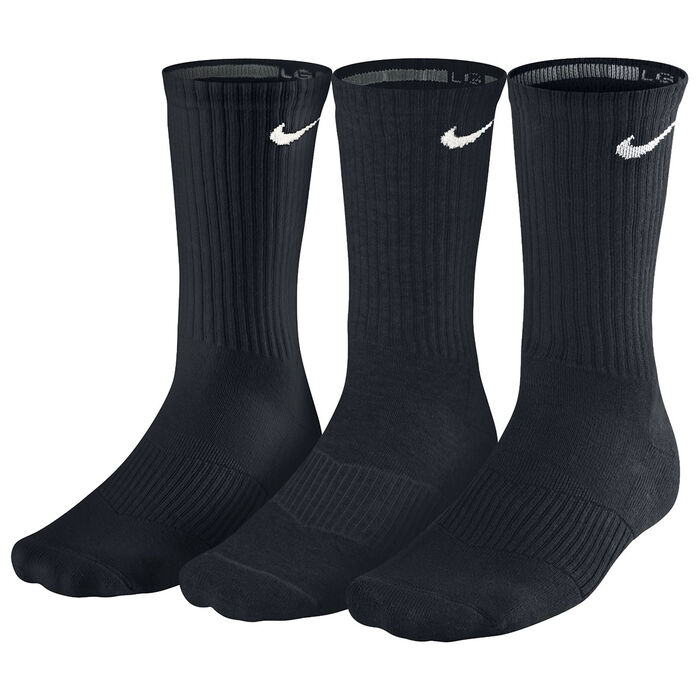 Women's Cotton Cushion Crew Socks [3 Pack] (Black)