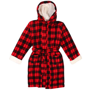 Juniors' [4-14] Buffalo Check Sherpa Robe