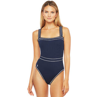 Women's Piped-Trim Ribbed One-Piece Swimsuit