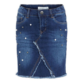 Junior Girls' [8-16] Stud Embellished Denim Skirt