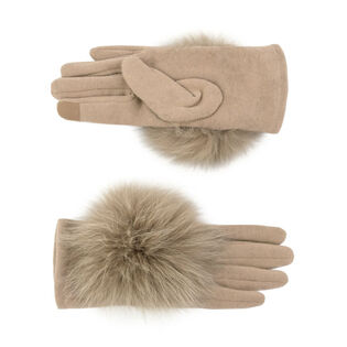 Women's Fur-Trimmed Fleece Glove
