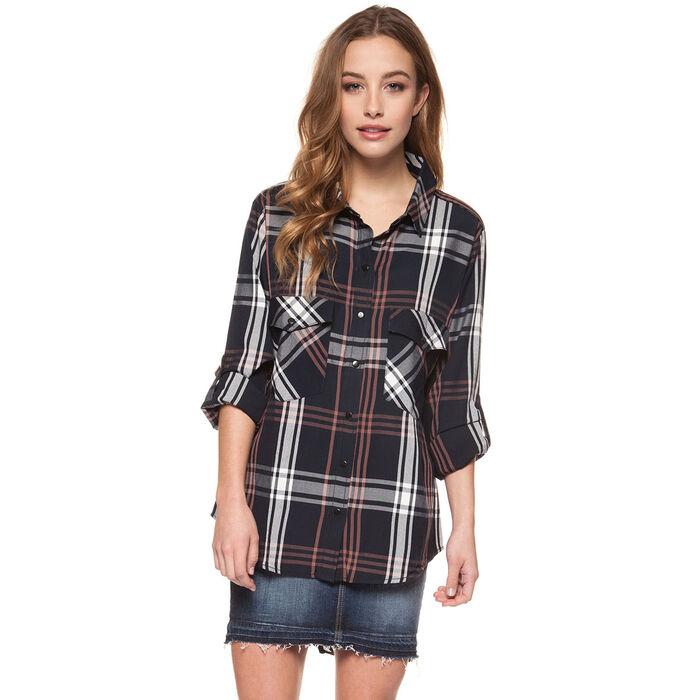 Chemise à carreaux avec poche pour femmes