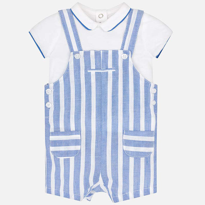Baby Boys' [0-12M] Polo Striped Overall Two-Piece Set
