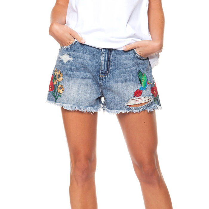 Women's Embroidered Denim Short