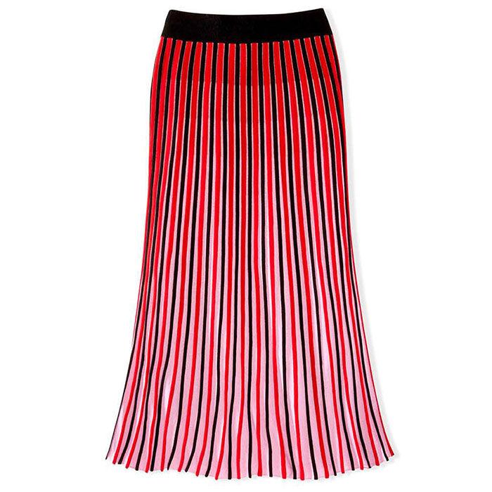 Women's Accordian Pleat Two-Tone Skirt