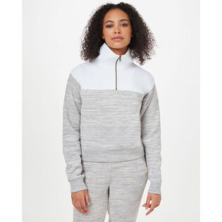 Women's Blocked Quarter-Zip Fleece Sweatshirt