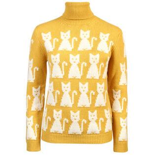 Women's Cat High Neck Sweater