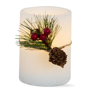 "Greenery Flameless LED Pillar Candle (4"")"
