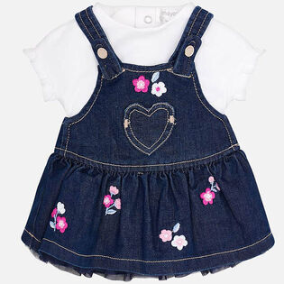 Baby Girls' [0-18M] Tee + Overall Dress Two-Piece Set