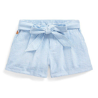 Girls' [5-6X] Belted Cotton Seersucker Short
