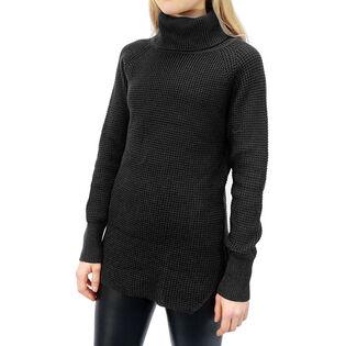 Chandail à col roulé en tricot gaufré pour femmes