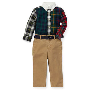Baby Boys' [3-24M] Fun Shirt + Belted Chino Two-Piece Set