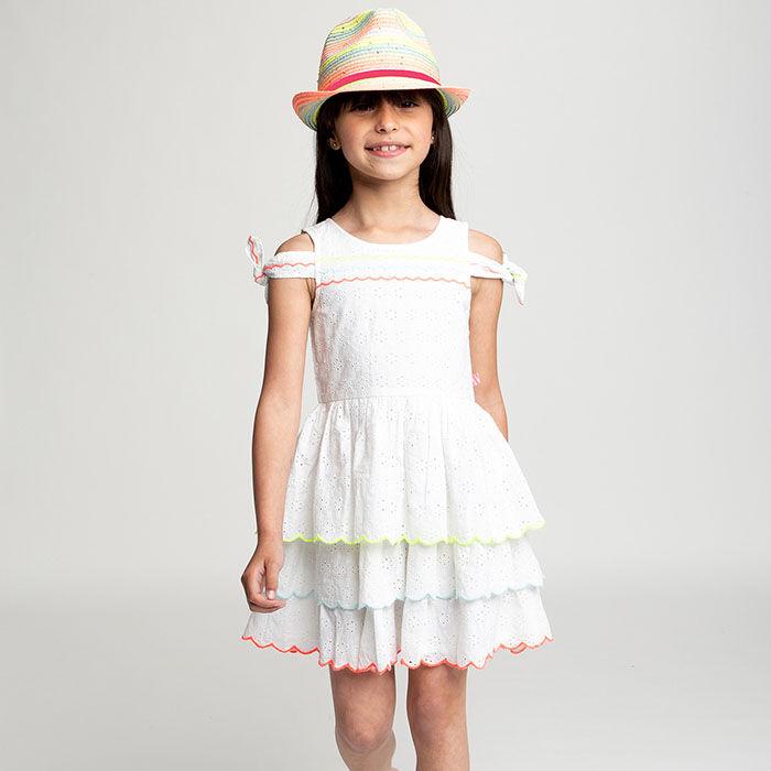 Girls' [3-6] Tiered Eyelet Dress