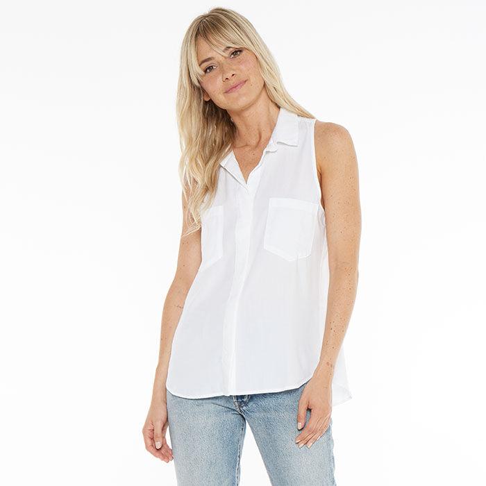 Women's Sleeveless Split Back Shirt