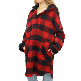 Women's Hooded Plaid Shirt Jacket