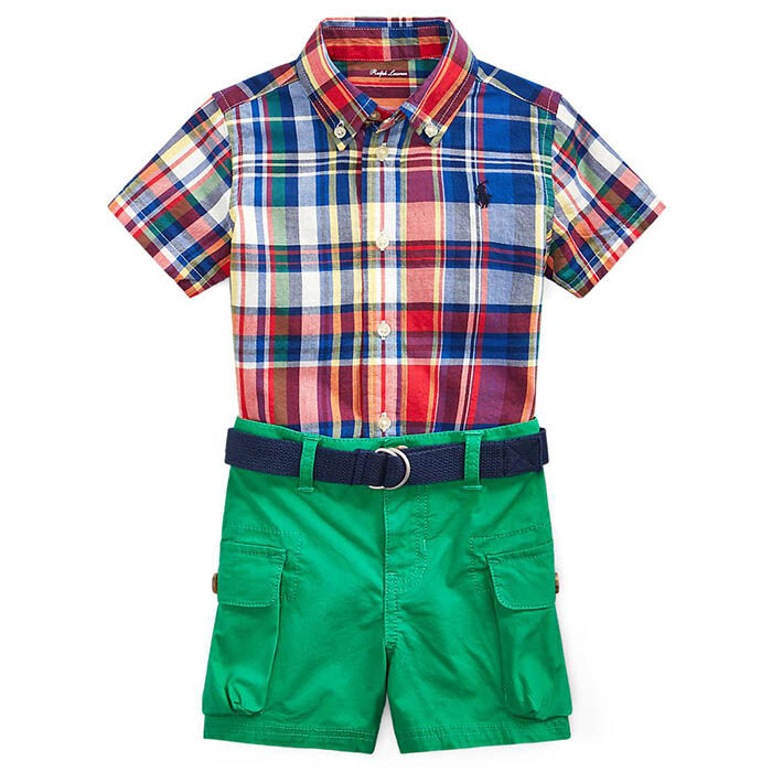 Baby Boys' [3-24M] Madras Top + Belted Short Two-Piece Set