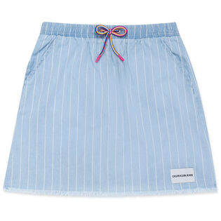 Junior Girls' [8-16] Stripe Chambray Pull-On Skirt