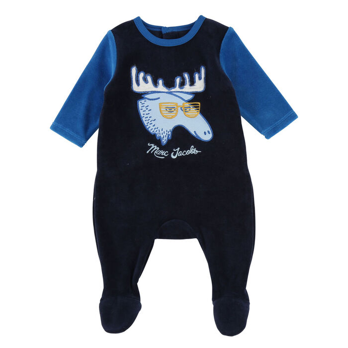 Baby Boys' [6-12M] Velvet Moose Jumpsuit
