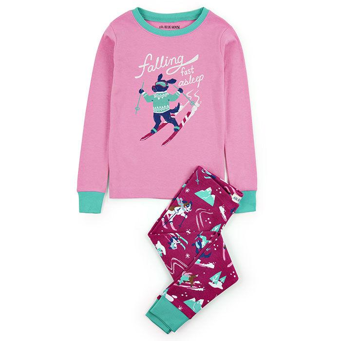 Pyjama 2 pces à motif chiens et skis rétro pour fillettes [2-10]