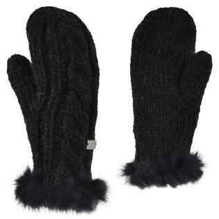 Women's Fur Cable Knit Mitten
