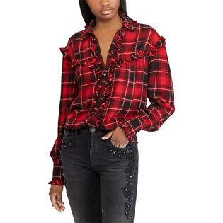 Women's Plaid Ruffled Twill Shirt
