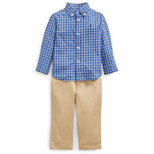 Baby Boys' [3-24M] Plaid Shirt + Belted Pant Three-Piece Set